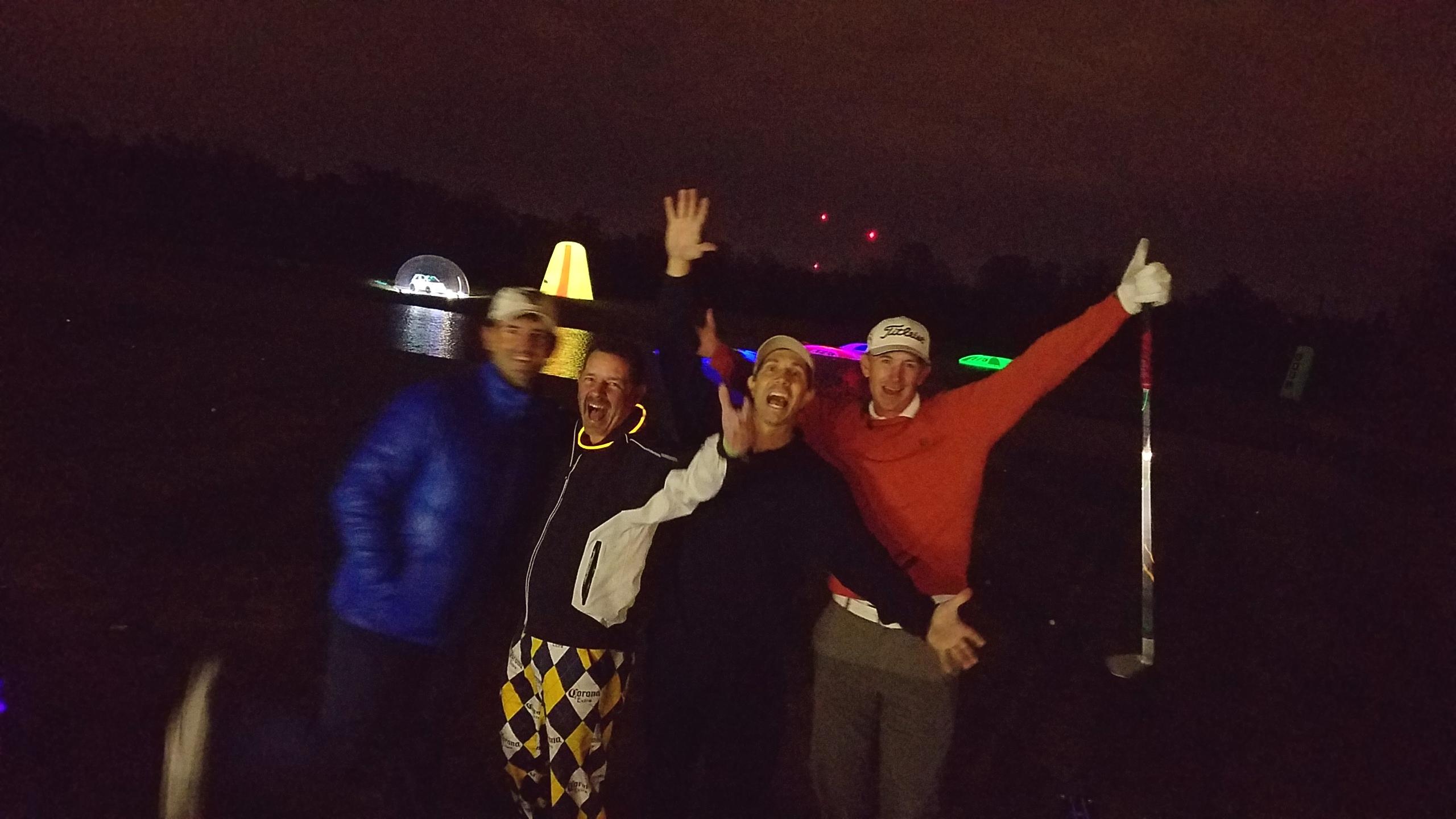 golfers at the aqua range