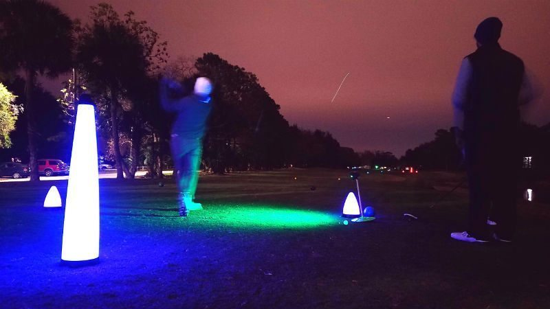 night golf nationals tee shot