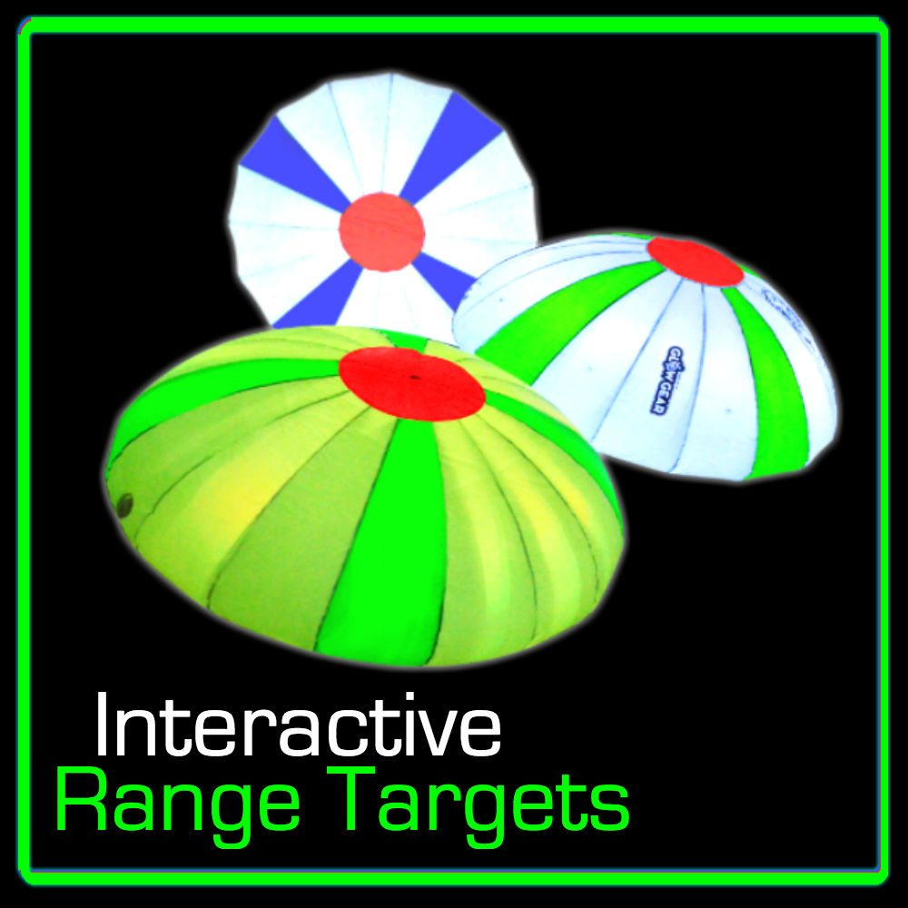 Night golf targets for the driving range and golf course