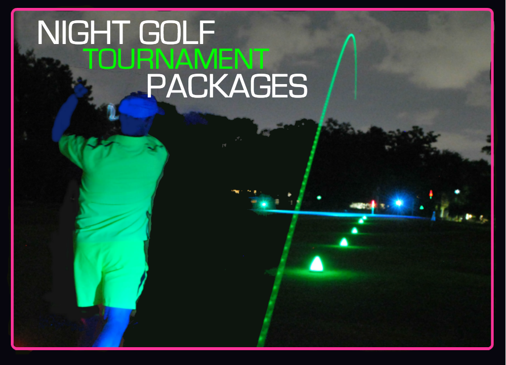 Night golf supplies for golf courses and driving ranges