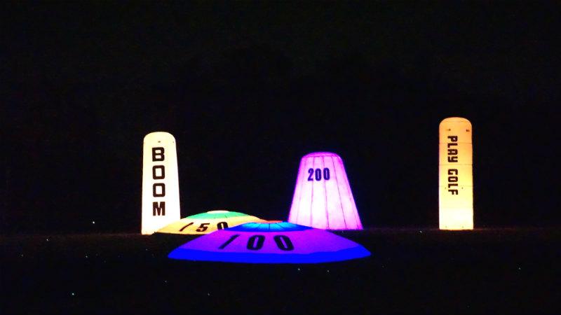 golf targets at night