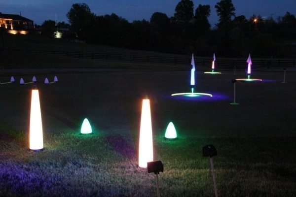 night golf fairway marker lights