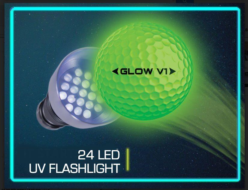 Glow V1 NIGHT GOLF BALL – 6 Ball Pack with UV Flashlight 2